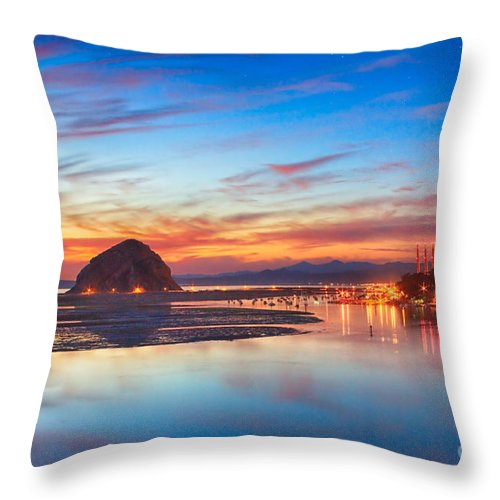 Evening Throw Pillow featuring the photograph Bay Lights by Beth Sargent