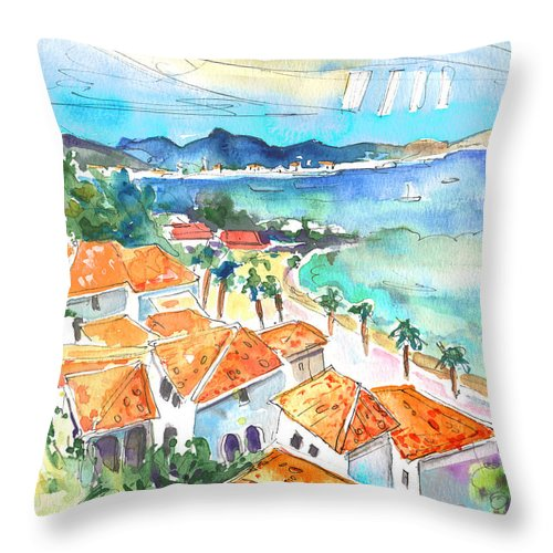 Caribbean Islands Throw Pillow featuring the painting Bay Of Saint Martin by Miki De Goodaboom