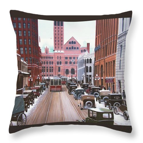 Streetscapes Throw Pillow featuring the painting Bay Street Christmas Eve 1924 by Kenneth M Kirsch