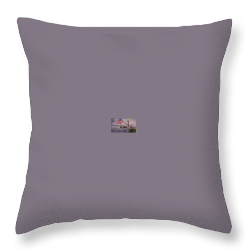 Rick Huotari Throw Pillow featuring the painting Bayfield On The 4th by Rick Huotari