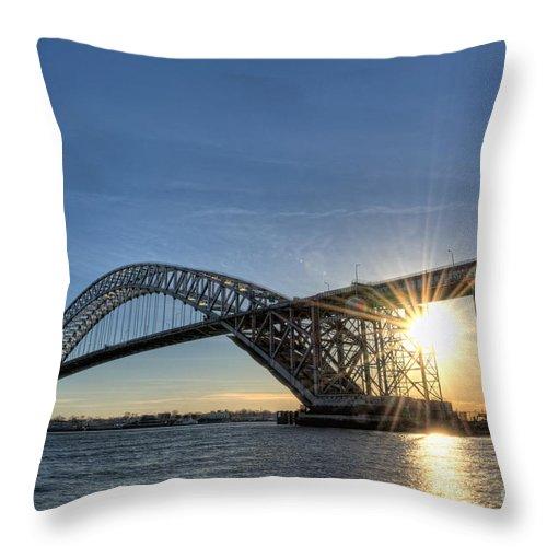 Sunset Throw Pillow featuring the photograph Bayonne Bridge Sunburst by Michael Ver Sprill