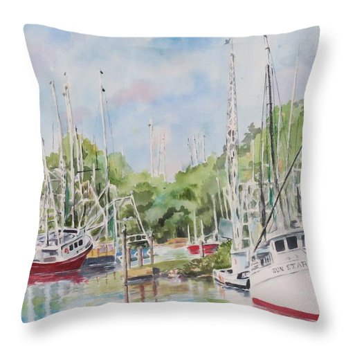 Seascape Throw Pillow featuring the painting Bayou La Batre by Danny Helms
