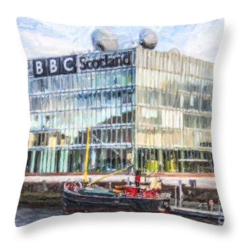 Bbc Scotland Throw Pillow featuring the digital art Bbc Scotland Broadcasting Centre Glasgow by Liz Leyden