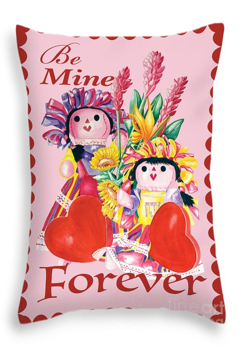 Valentines Day Throw Pillow featuring the painting Be Mine-forever by Kandyce Waltensperger
