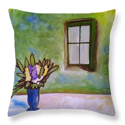 Flowers Throw Pillow featuring the painting Be Still by Debbie Wright Swisher