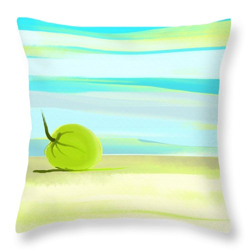 Beach Throw Pillow featuring the painting Beach 1 by Len YewHeng