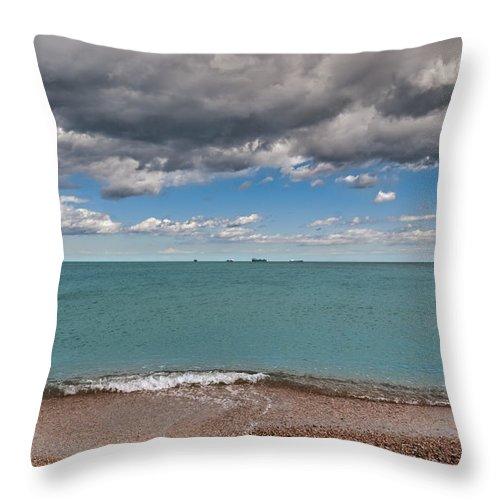 Beach Throw Pillow featuring the photograph Beach And Ships. by Juan Carlos Ferro Duque