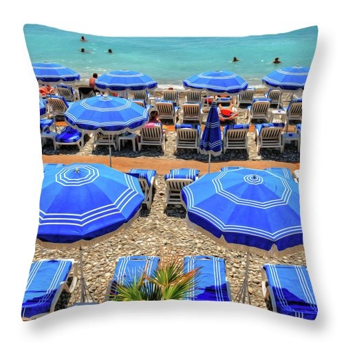 Nice Throw Pillow featuring the photograph Beach At Nice France by Dave Mills