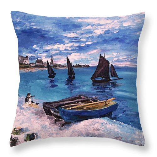 Monet Throw Pillow featuring the painting Beach At Sainte Adresse Monet by Eric Schiabor