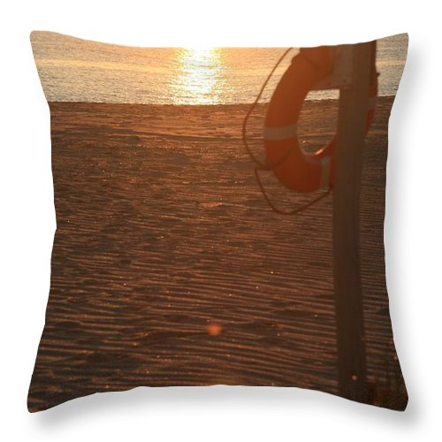 Beach Throw Pillow featuring the photograph Beach At Sunset by Nadine Rippelmeyer