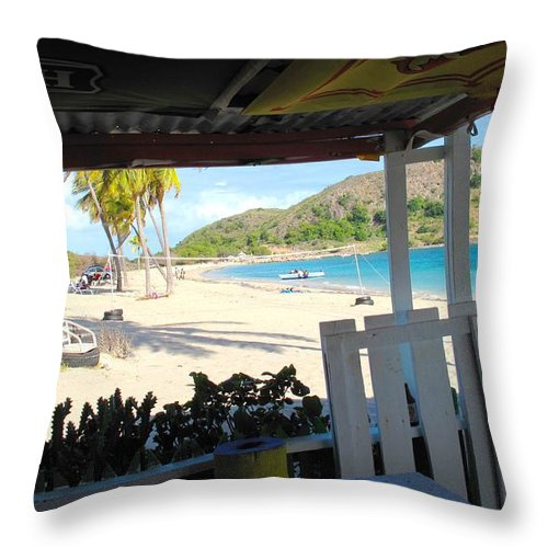 St Kitts Throw Pillow featuring the photograph Beach Bar In January by Ian MacDonald