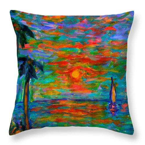 Ocean Sunset Throw Pillow featuring the painting Beach Beauty by Kendall Kessler