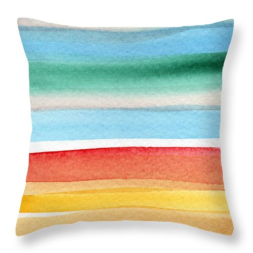 Beach Landscape Painting Throw Pillow featuring the painting Beach Blanket- Colorful Abstract Painting by Linda Woods