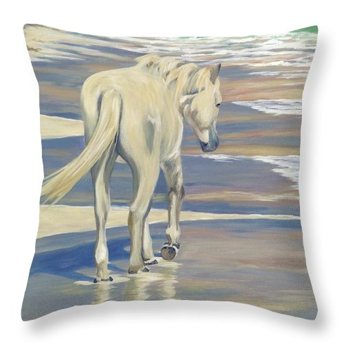 Horse Throw Pillow featuring the painting Beach Blond by Danielle Perry