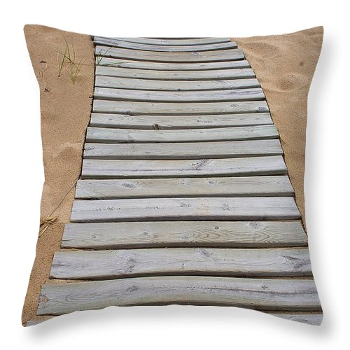 Boardwalk Throw Pillow featuring the photograph Beach Boardwalk by Randy Pollard