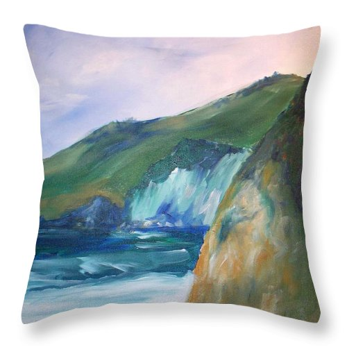 California Coast Throw Pillow featuring the painting Beach California by Eric Schiabor