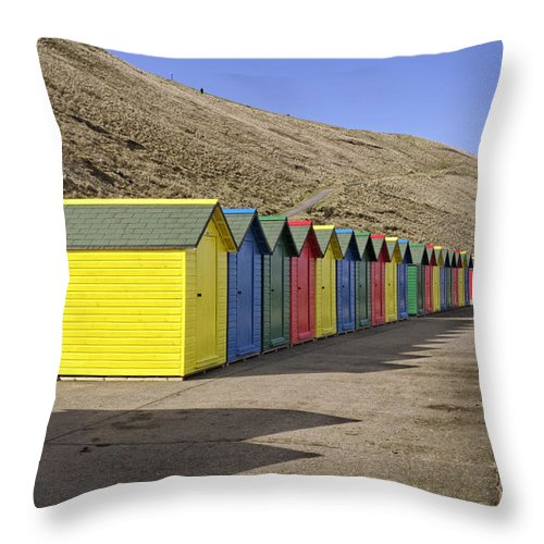 Britain Throw Pillow featuring the photograph Beach Chalets - Whitby by Rod Johnson