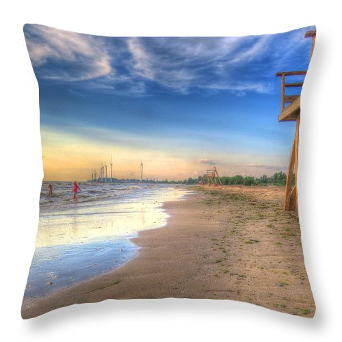 Beach Throw Pillow featuring the photograph Beach Closed by Cindy Haggerty