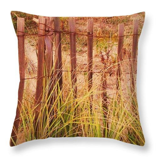 Beach Throw Pillow featuring the photograph Beach Dune Fence At Cape May Nj by Eric Schiabor
