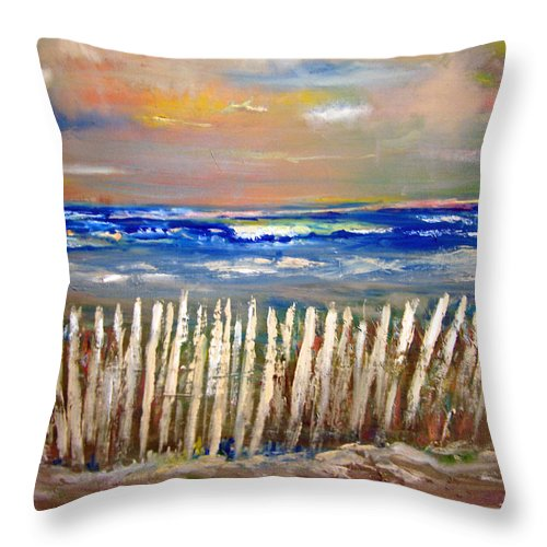 Fence Throw Pillow featuring the painting Beach Fence by Patricia Taylor