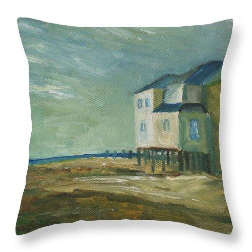 Beach House Throw Pillow featuring the painting Beach House by Julie Dalton Gourgues