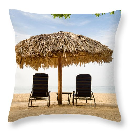 Jamaica Throw Pillow featuring the photograph Beach Hut For Two by Ferry Zievinger