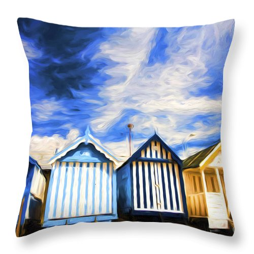 Beach Huts Throw Pillow featuring the photograph Beach huts at Southend by Sheila Smart Fine Art Photography