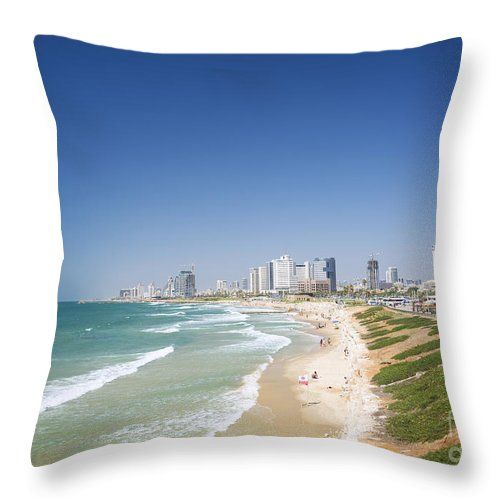 Architecture Throw Pillow featuring the photograph Beach In Tel Aviv Israel by Jacek Malipan