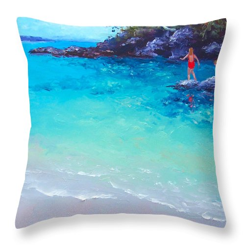 Beach Throw Pillow featuring the painting Beach Painting - A Day To Remember by Jan Matson