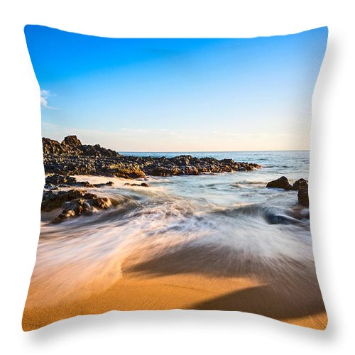 Secret Beach Throw Pillow featuring the photograph Beach Paradise - Beautiful And Secluded Secret Beach In Maui. by Jamie Pham