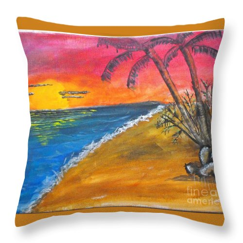 Beach Throw Pillow featuring the painting Beach Scene by Catherine Ratliff