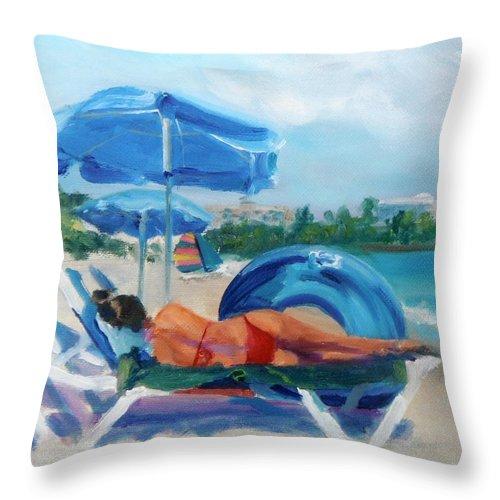 Beach Throw Pillow featuring the painting Beach Siesta by Donna Tuten
