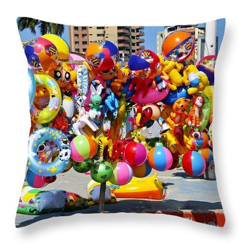 Toy Throw Pillow featuring the photograph Beach Toys At Manta Beach Ecuador by Kurt Van Wagner