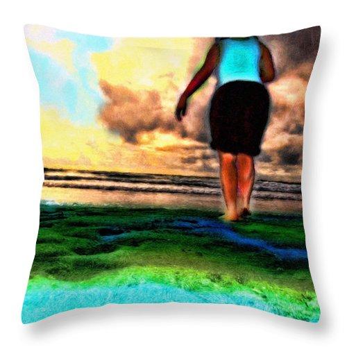 Beach Throw Pillow featuring the mixed media Beach Walking by Tyler Robbins