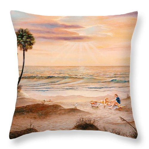 Beach Throw Pillow featuring the painting Beachcombers by Duane R Probus