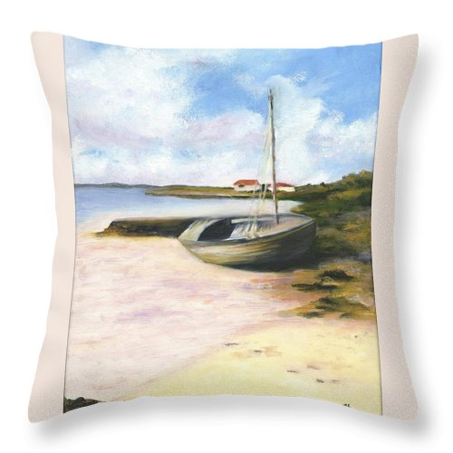 Beach Throw Pillow featuring the painting Beached by Deborah Butts