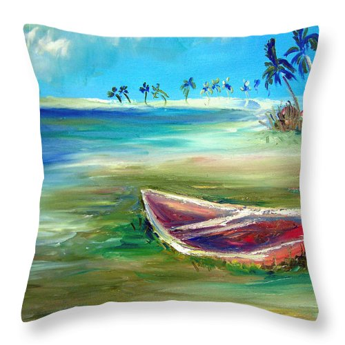 Rowboat Throw Pillow featuring the painting Beached by Patricia Taylor