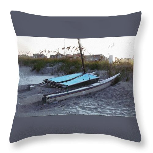 Boat Throw Pillow featuring the photograph Beached by Wendy Gertz