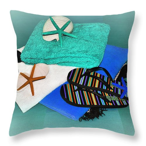 Photography Throw Pillow featuring the photograph Beachy Things - Aqua Blue by Kaye Menner