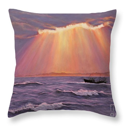 Sunset Throw Pillow featuring the painting Beacons Of Light by Cindy Lee Longhini