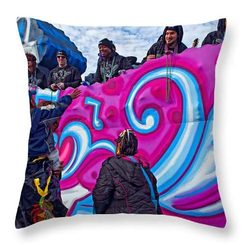 Metairie Throw Pillow featuring the photograph Beads Please by Steve Harrington