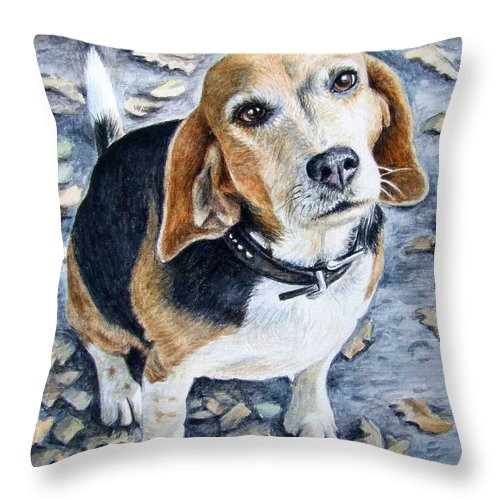 Dog Throw Pillow featuring the painting Beagle in Autumn by Nicole Zeug