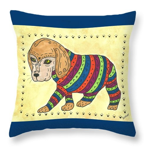 Beagle Throw Pillow featuring the painting Beagle Sweater by Susie Weber