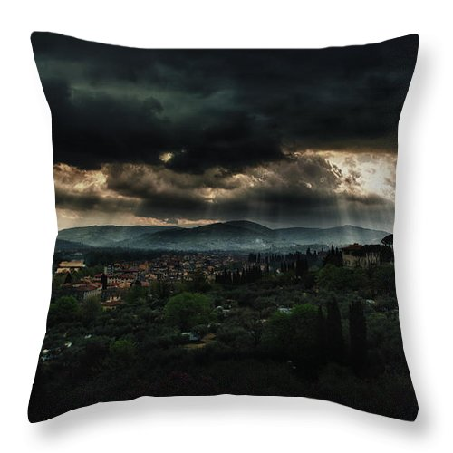 Florence Throw Pillow featuring the photograph Beams Of Light Over Florence by Jaroslaw Blaminsky