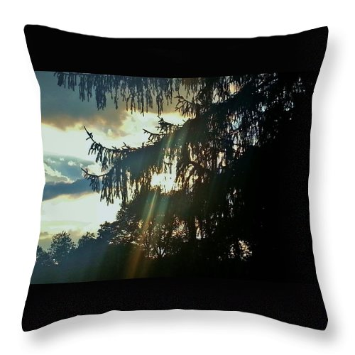 New Jersey Throw Pillow featuring the photograph Beams Through The Storm by Laura Hopta
