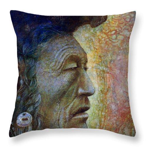 Bear Bull Throw Pillow featuring the painting Bear Bull Shaman by Otto Rapp