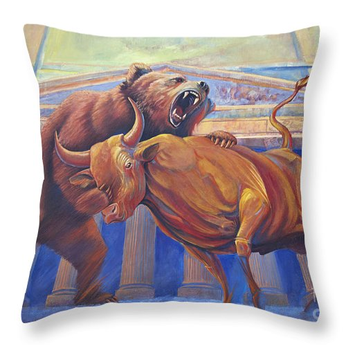 Wall Art. Wildlife Paintings Throw Pillow featuring the painting Bear Vs Bull by Rob Corsetti