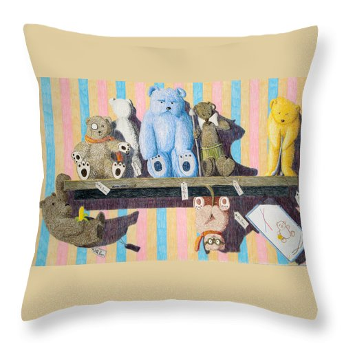 Still Life Throw Pillow featuring the painting Bearly There by A Robert Malcom