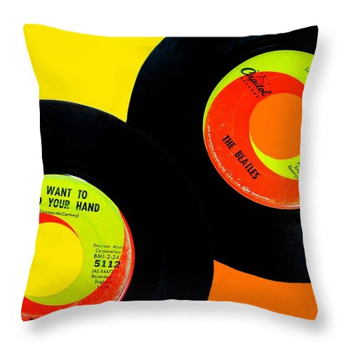 The Beatles Throw Pillow featuring the photograph Beatles 50th Anniversary by Diana Angstadt