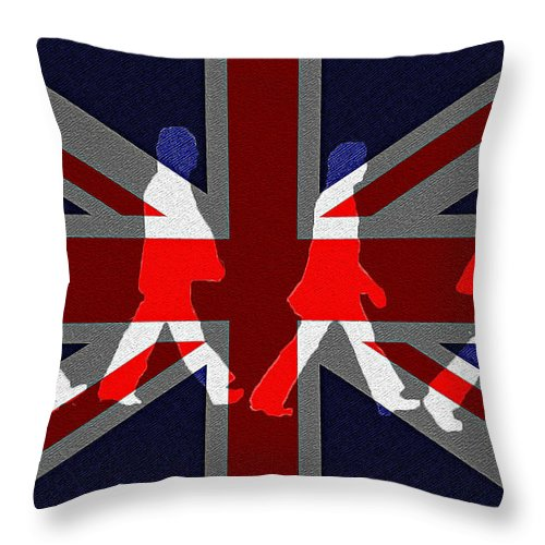 Beatles Throw Pillow featuring the photograph Beatles Abbey Road Flag by Bill Cannon